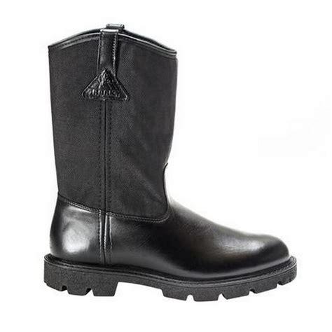 rocky warden pull on 6300 mens black wellington duty boot