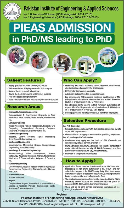 Lums Mba Admission Criteria by Pieas Phd Admission 2016 Application Form Entry