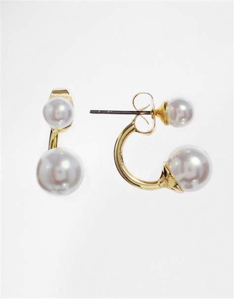 swing earrings asos asos faux pearl swing earrings