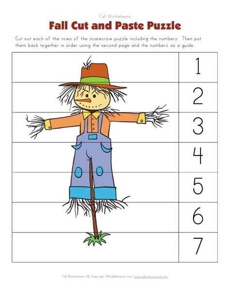Cut And Paste Fall Worksheets by Fall Cut And Paste Puzzle