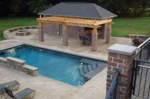 interesting wooden pergola roofing with stones exterior