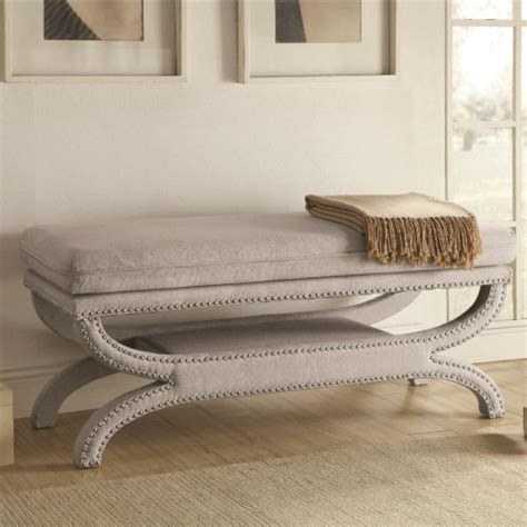 coaster bench coaster benches fully upholstered light grey bench with