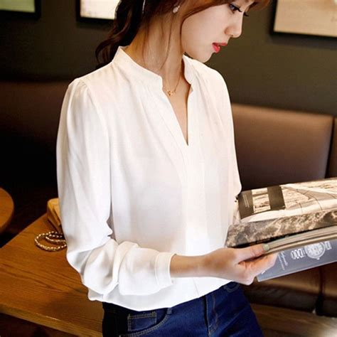 Rushed Sleeve V Neck Top womens sleeve chiffon blouse with v neck
