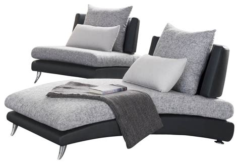 Indoor Upholstered Chaise Lounge Homelegance Renton Upholstered Chaise In Black And Grey Traditional Indoor Chaise Lounge