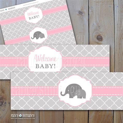 free water bottle labels for baby shower template elephant baby shower water bottle labels pink and grey