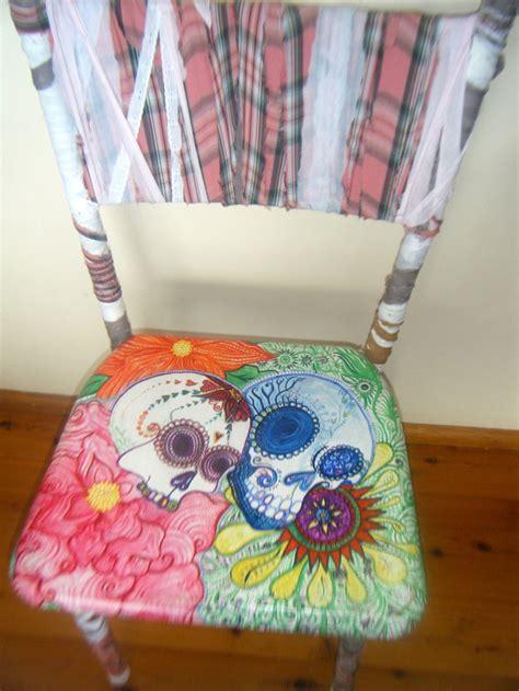 hand painted sugar skull chair by handmadebusyspider