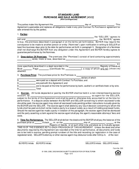Agreement Letter For Buying Land Sle Purchase Agreement Forms 10 Free Documents In Pdf Word