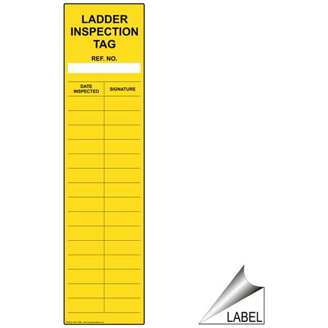 ladder inspection template ladder inspection checklist label nhe 16294 industrial notices