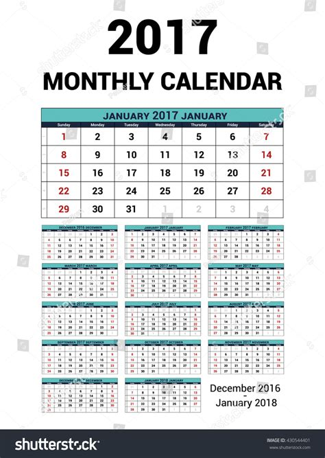 calendar 2018 year vector design stationery stock vector calendar monthly for 2017 year vector stationery design