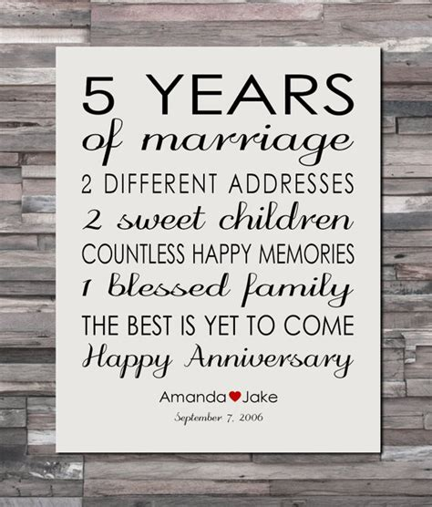 Wedding Anniversary Gifts 5 Years by Anniversary Gift Print 5 Year Wedding 5th Anniversary