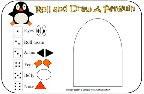 Penguin Worksheets by Roll And Draw A Penguin Teaching Teaching