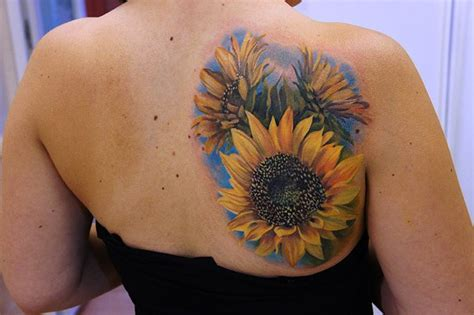 sunflower and rose tattoo flower tattoos