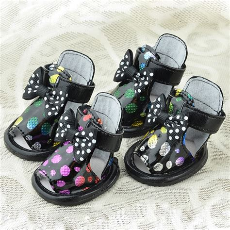 Sepatu Polka Black Anti Slip summer pet puppy shoes polka dots pu leather cozy
