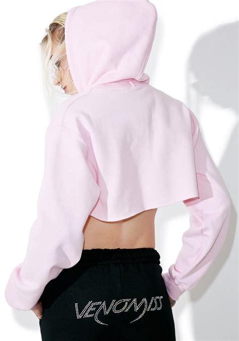 Crop Hodie Pink venomiss nyc pink cropped hoodie dolls kill