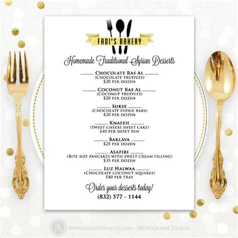 sle menu cards templates cake menu card best cake 2017