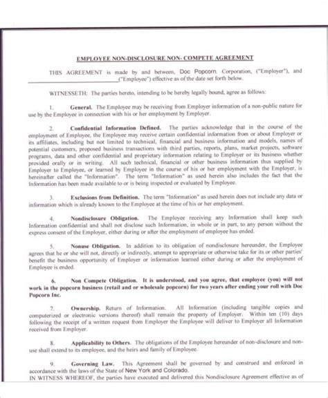 sle non compete agreement template sle non compete agreement template 28 images agreement