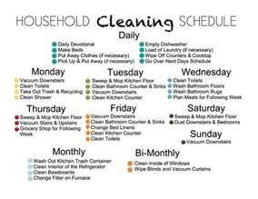 house cleaning schedule for household organization