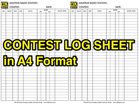 Ham Radio Giveaway - contest log sheet in a4 format resource detail