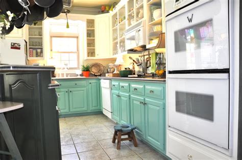 Turquoise Painted Kitchen Cabinets Colored Kitchen Cabinets