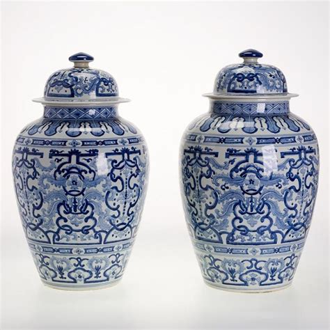 blue and white ginger jars pair large chinese blue and white ginger jars
