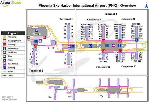 phx airport map phx airport terminal map phx terminal map arizona usa