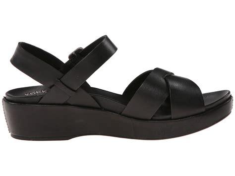 comfort ease shoes kork ease black leather casual myrna 2 0 sandal wedge