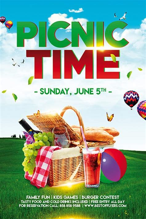 Freepsdflyer Picnic Time Free Poster Template For Community Picnic Events Free Church Picnic Flyer Templates