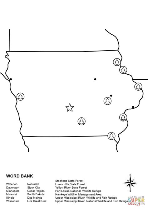 coloring page map of illinois iowastatecyclones free coloring pages