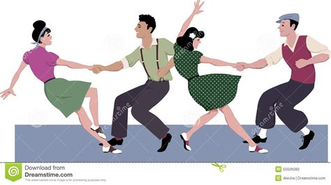 swing illustration lindy hop competition stock vector image 55526082
