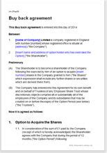 buy back agreement template shares buyback agreement template