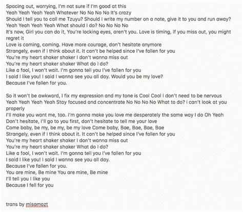 heart pattern lyrics english on twitter quot heart shaker lyrics english translation