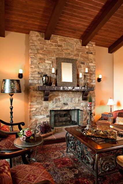 Mediterranean Style Bathrooms rustic stone fireplace