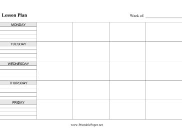 printable weekly lesson plan pages printable lesson plan horizontal