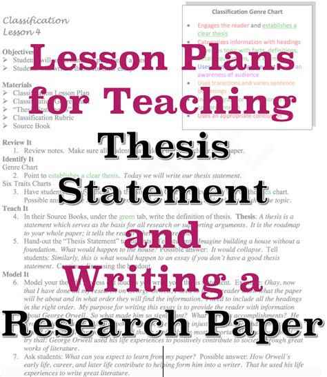 High School Thesis Writing by Sle Lesson Plans For Teaching Thesis Statement And How