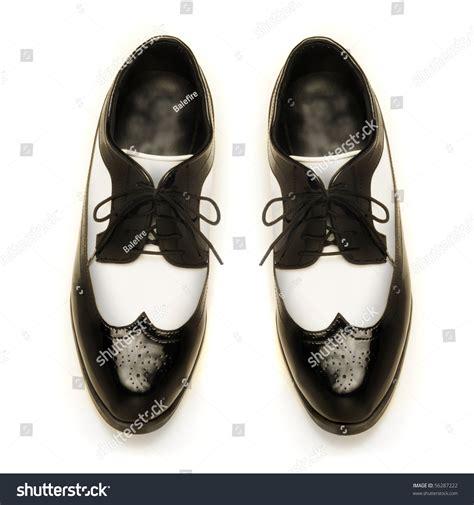 twotone black white patent leather mens stock photo