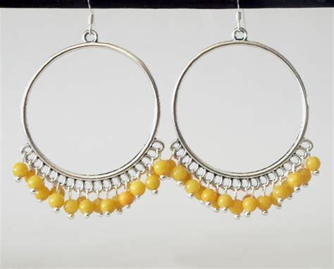 Yellow Chandelier Earrings Large Hoop Yellow Earrings Yellow Chandelier Earrings On Luulla