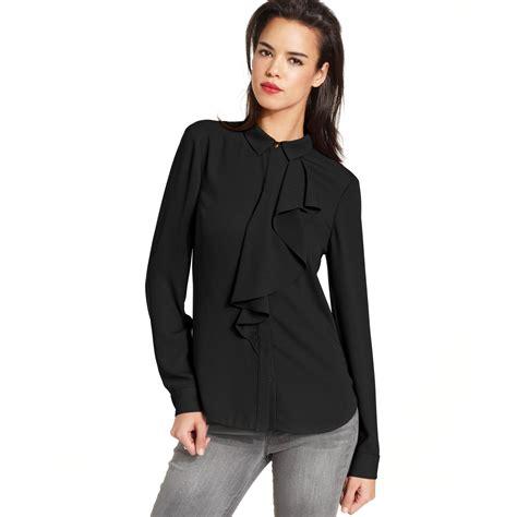 lyst roy top longsleeve highneck ruffle blouse in black