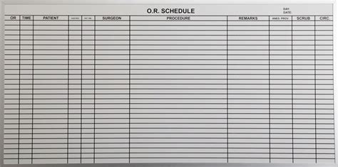 surgery schedule template custom hospital whiteboards stonehouse signs