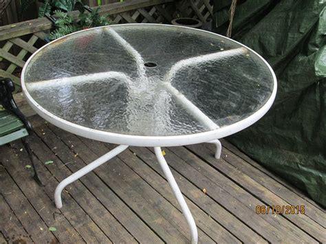 White Glass Patio Table Patio Table With Glass Top White 42 Inches Kanata Ottawa