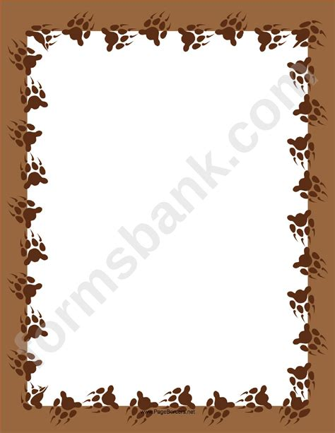 brown bear paw page border template printable