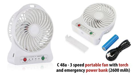 Lu Emergency Power Bank 3 speed portable fan with torch and emergency power bank 2600 mah giftsonclick in