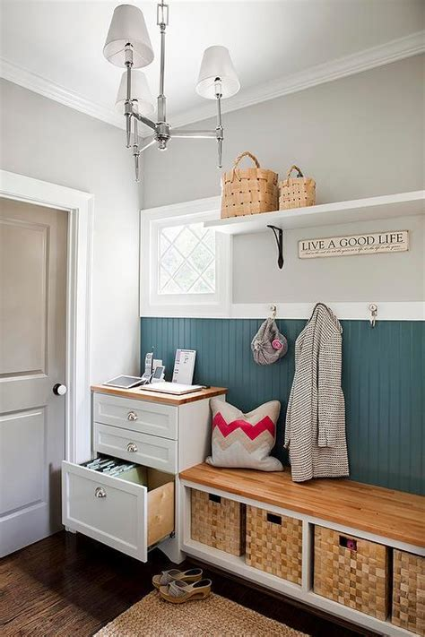 mudroom beadboard transitional laundry room sherwin williams mindful gray the creativity