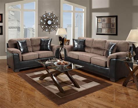 Chocolate Living Room Furniture Chocolate Fabric And Brown Vinyl Modern Sofa Loveseat Set