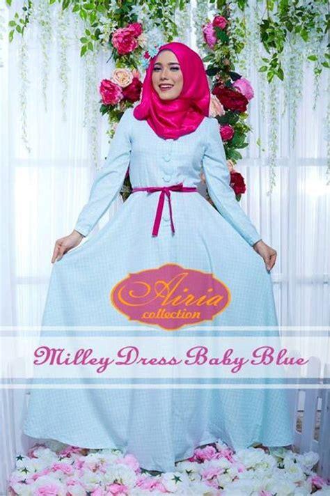 Dress Wanita Fahira milley dress by airia baby blue baju muslim gamis modern