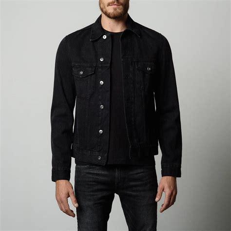 Denim Jaket Black Pria Cowok mens denim jacket in worn black dstld