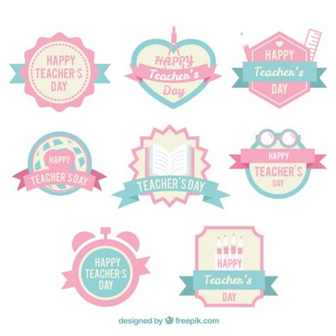 Happy Green Color cute teacher s day badges in pastel colors vector free
