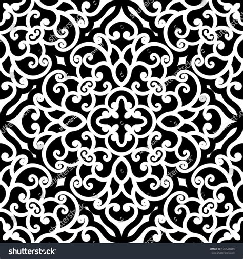 shutterstock pattern black and white swirly ornament vector seamless pattern