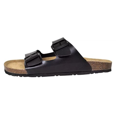 Black Unisex vidaxl co uk black unisex bio cork sandal with 2 buckle straps size 43