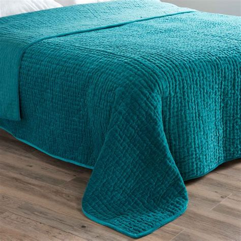 Teal Quilted Bedspread Aqua Velvet Quilted Bedspread In Blue 240 X 260cm Flat 9
