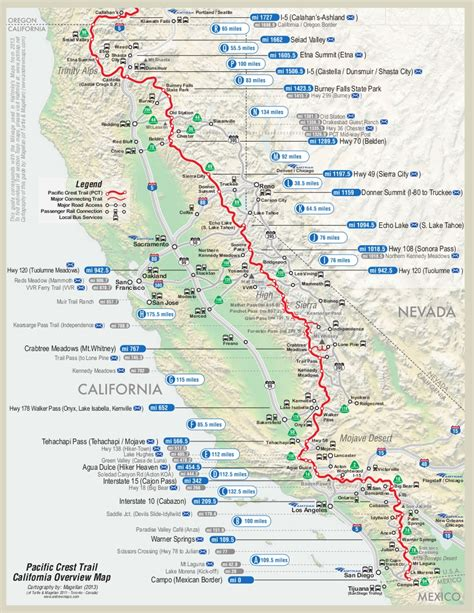 Pct Sections pacific crest trail map hiking cing